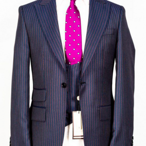 Navy blue with purple pinstripes 3-piece suit