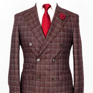 Vitale Barberis – Burgundy plaid double breasted 2-piece suit